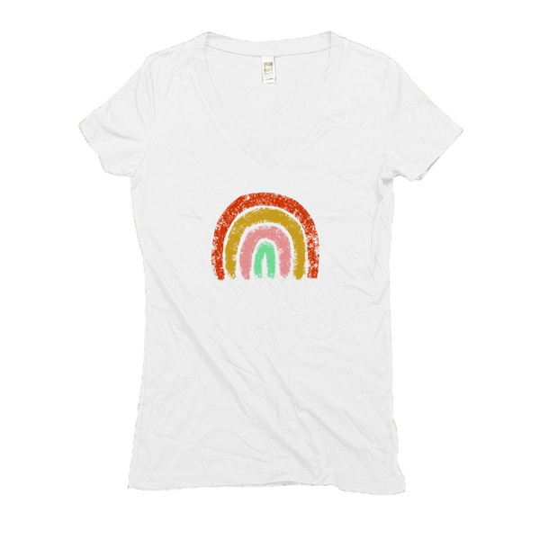 Rainbow Hemp V-Neck White Women's T-Shirt