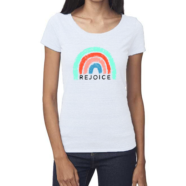 rejoice rainbow women's t shirt
