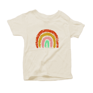 Earthy Charcoal Rainbow Organic Cotton Toddler Short Sleeve Crew Tee