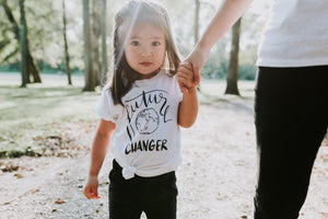 Toddler Wearing Future World Changer Organic Cotton Toddler Short Sleeve White Crew Tee
