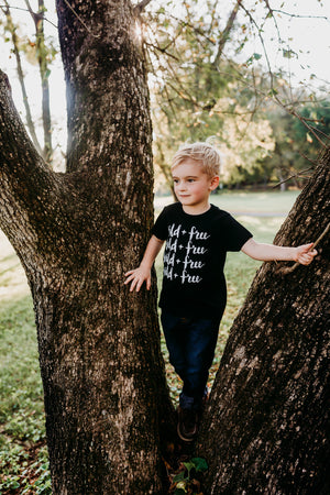 Toddler Wearing Wild and Free Organic Cotton Toddler Short Sleeve Charcoal Crew Tee