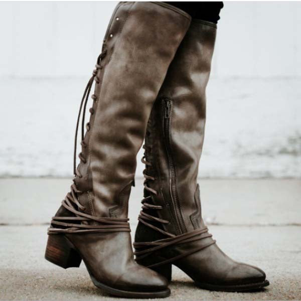 916d02509d4 ... Women Vintage Lace Up Boots European Style Bandage Above Knee Boots ...