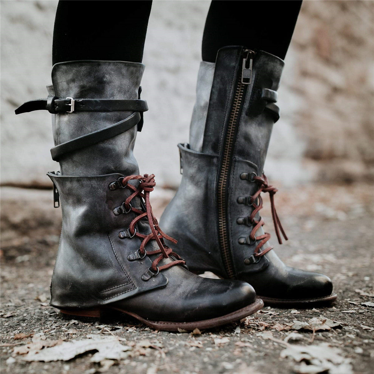 fa65f0edb0d1 Vintage Women Lace-up Boots Adjustable Buckle Faux Leather Low Heel Boots