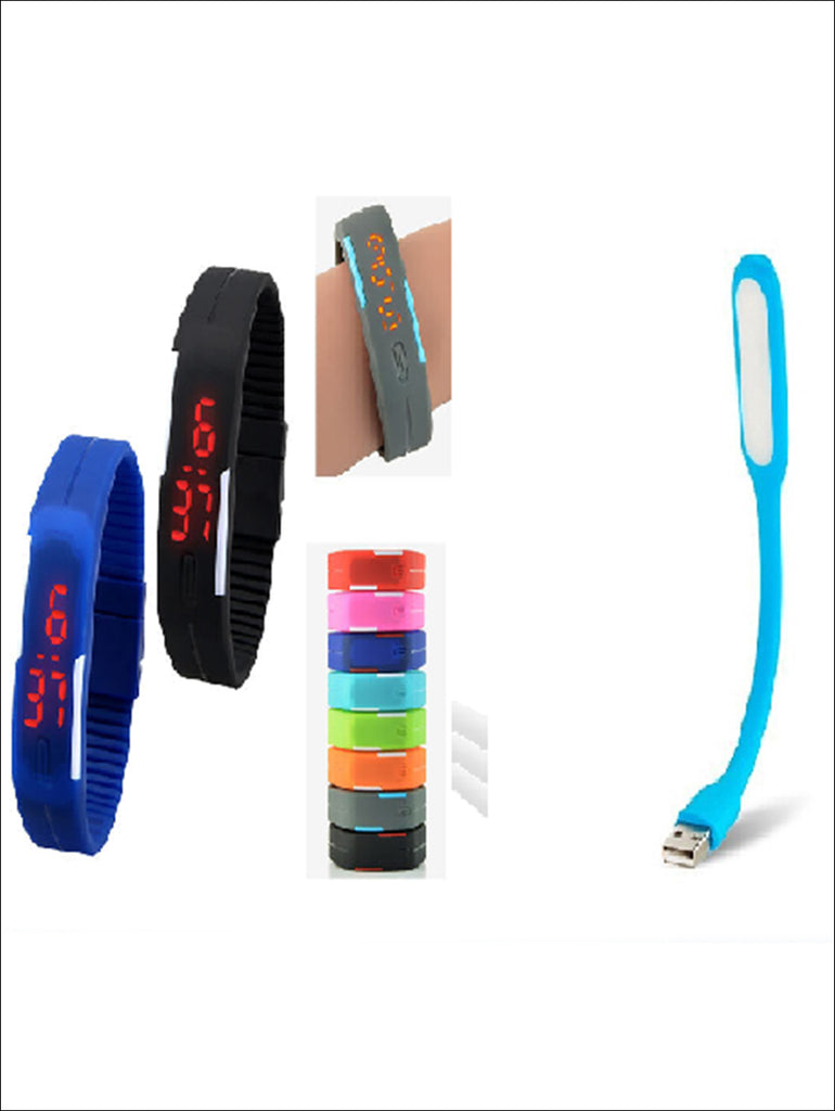 Super Combo Deal 1 LED Wrist Band Watch and 1 Flexible USB LED Light Lamp