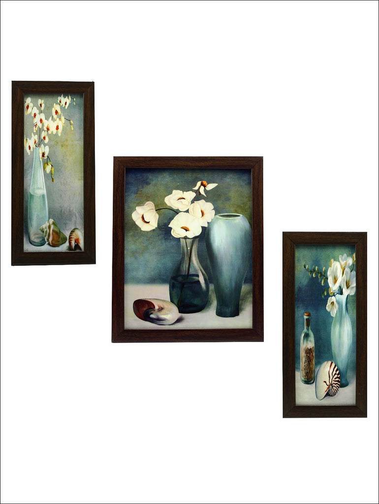 FRA0360 3 Pc Set Of Floral Paintings Without Glass