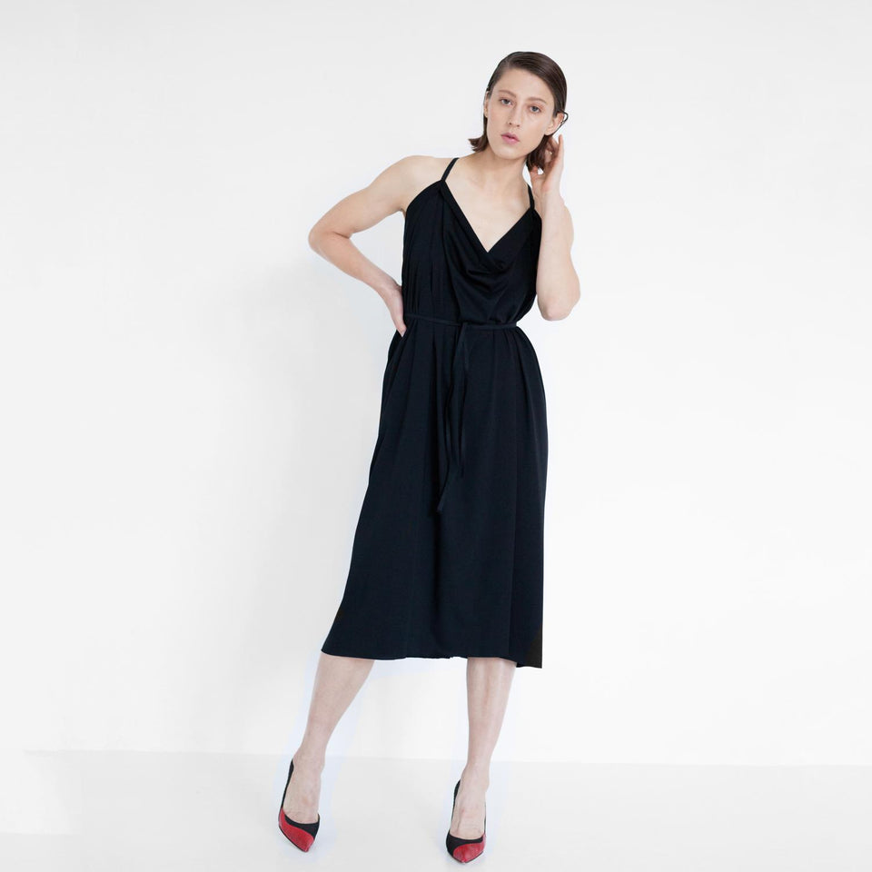 draped jersey dress in black by Natascha von Hirschhausen fashion design made in Berlin