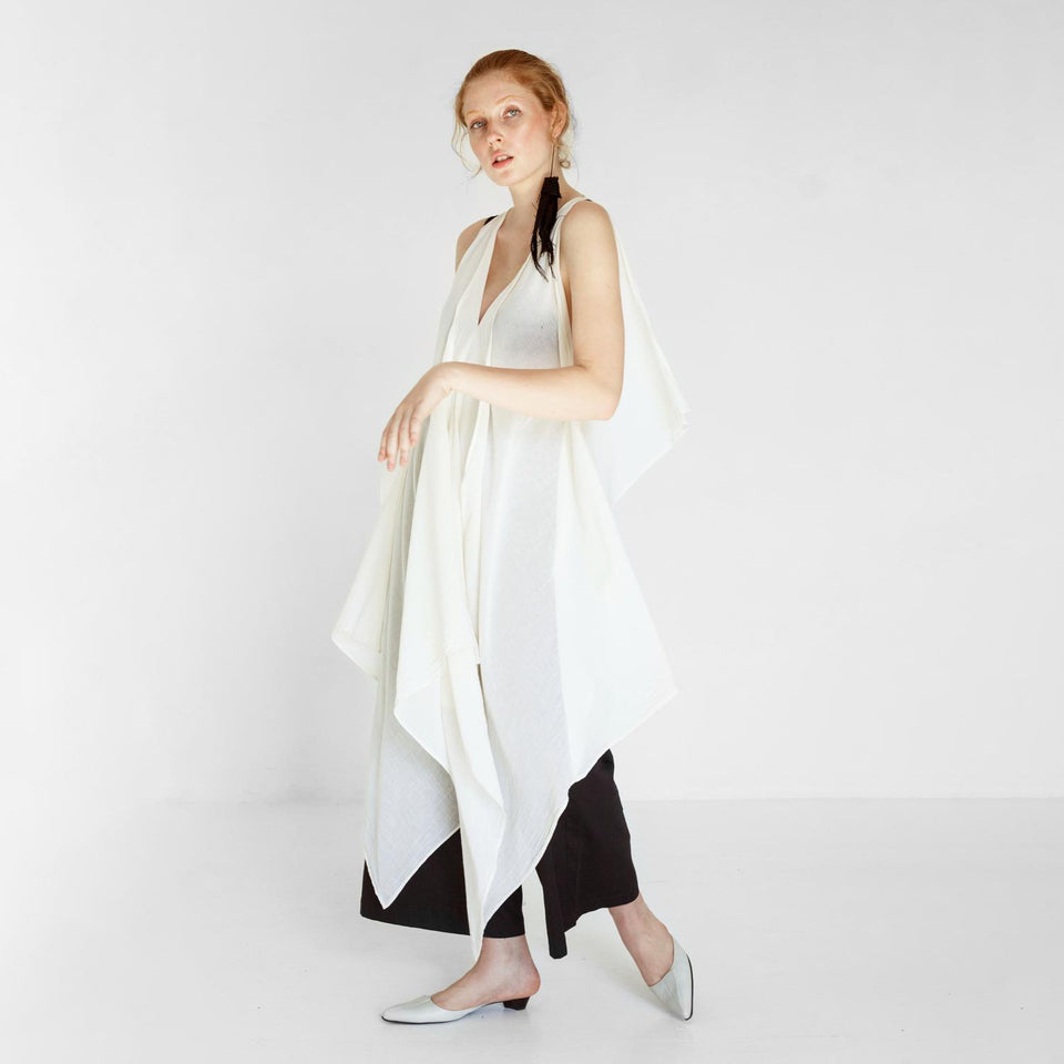 transparent beach dress made of organic cotton by Natascha von Hirschhausen fashion design made in Berlin