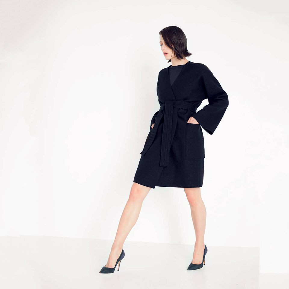 woolen coat in minimal design by Natascha von Hirschhausen fashion design made in Berlin