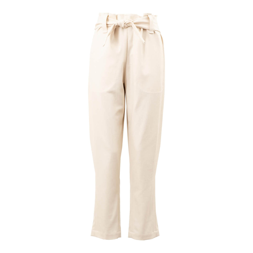 elegant high waist trousers in cream by Natascha von Hirschhausen fashion design made in Berlin