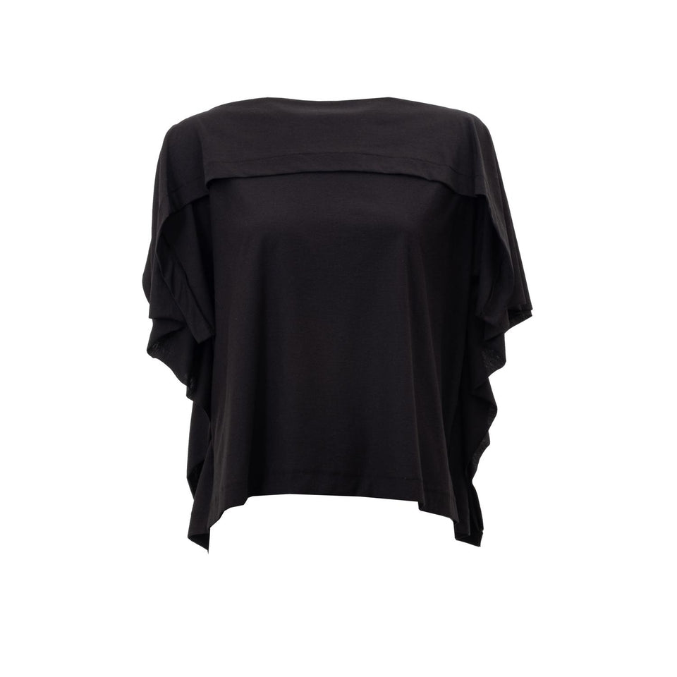 flowing jersey top in black by Natascha von Hirschhausen fashion design made in Berlin