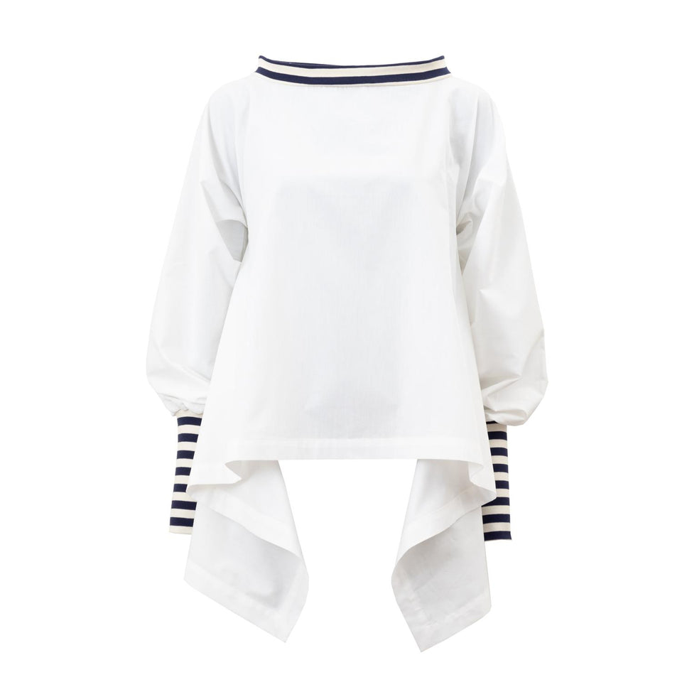 maritim blouse made of white shirting fabric by Natascha von Hirschhausen fashion design made in Berlin