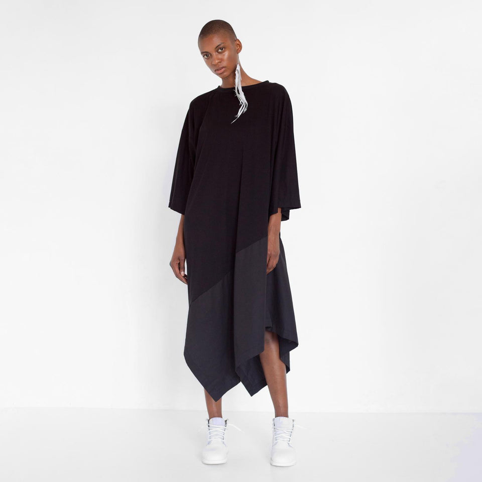 asymmetric oversized dress with fabric mix by Natascha von Hirschhausen fashion design made in Berlin