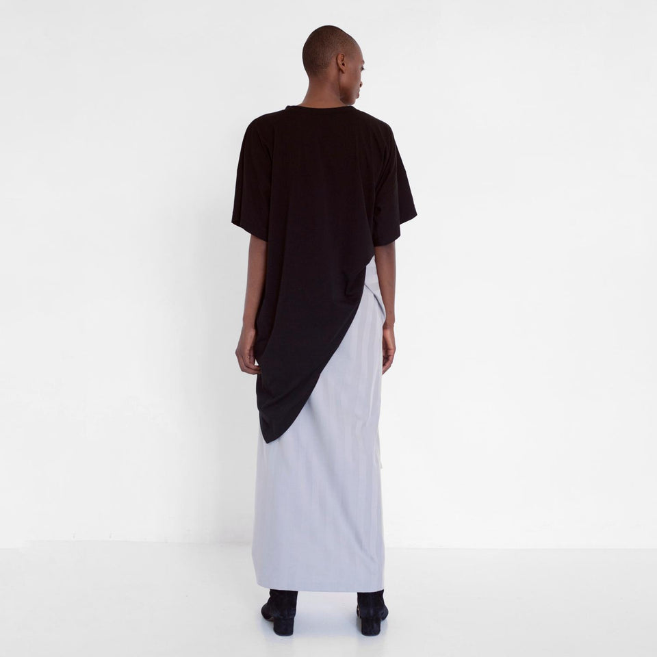 asymmetric skirt with stripes by Natascha von Hirschhausen fashion design made in Berlin