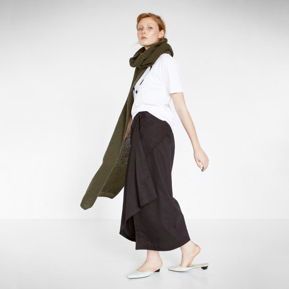 draped cotton skirt by Natascha von Hirschhausen fashion design made in Berlin