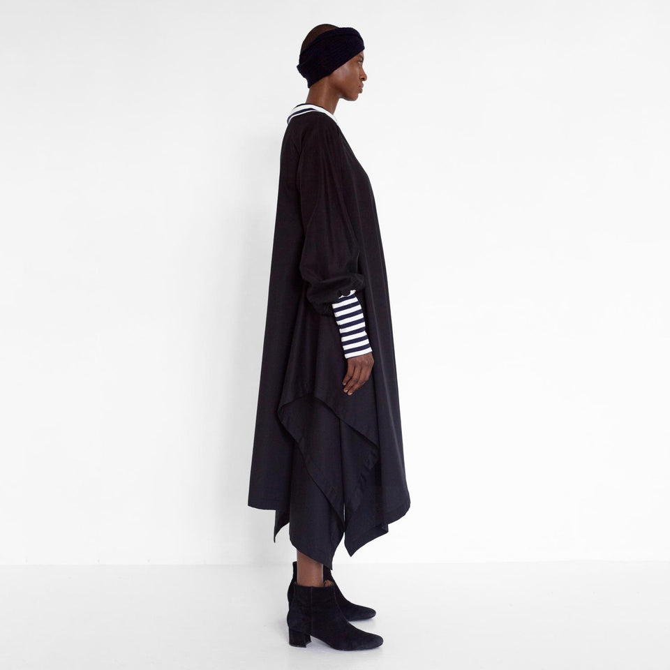 draped satin dress with stripe detail by Natascha von Hirschhausen fashion design made in Berlin