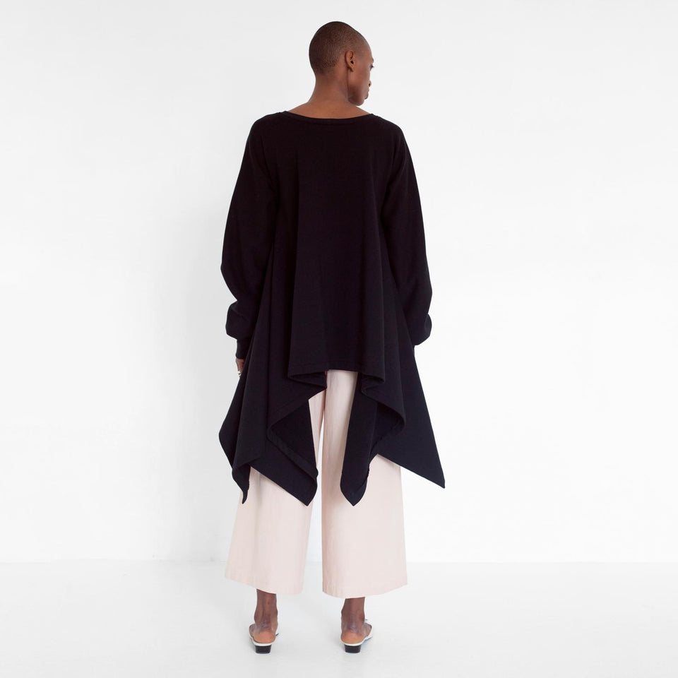 flowing oversized sweater with ruffled sleeves by Natascha von Hirschhausen fashion design made in Berlin