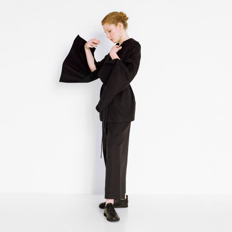 sophisticated pants suit with herringbone pattern by Natascha von Hirschhausen fashion design made in Berlin