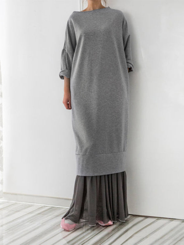 Polyester Crew Neck Casual Fall Dress