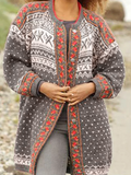 Gray Knitted Geometric Knitted Long Sleeve Outerwear