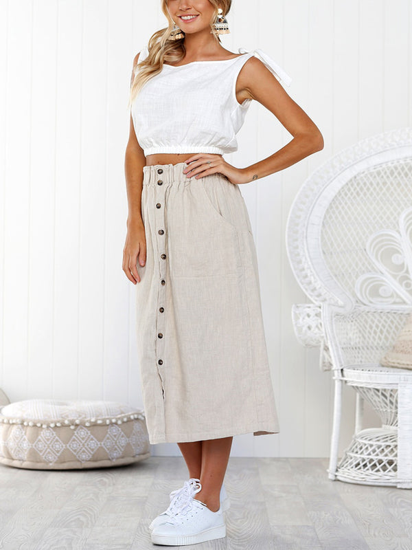 Women Pure A-shaped single-row button-up high waist mid Dress