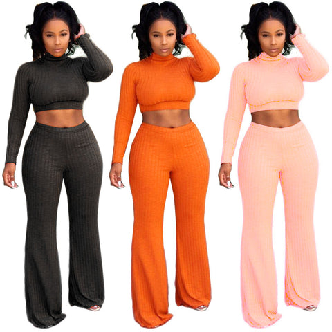 Women Round Neck Top Wide Leg Pants Two Piece Suits