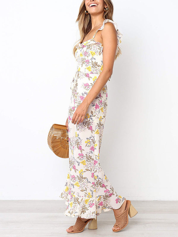 Women Holiday Flora Open Back Sleeveless Jumpsuit