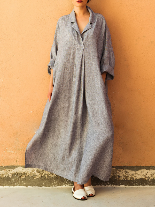 Shirt Collar Cotton Basic Long Sleeve A-line Maxi Dress