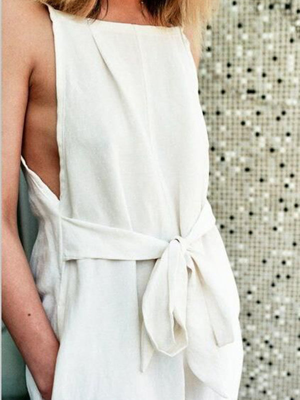 Women White Paneled Sleeveless Square Neck Jumpsuits