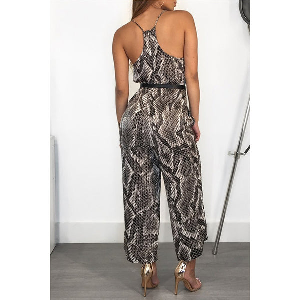 Women Sexy V-neck Snakeskin Jumpsuits