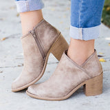 Women Fashion Ankle Zipper Pointed Toe Chunky Boots
