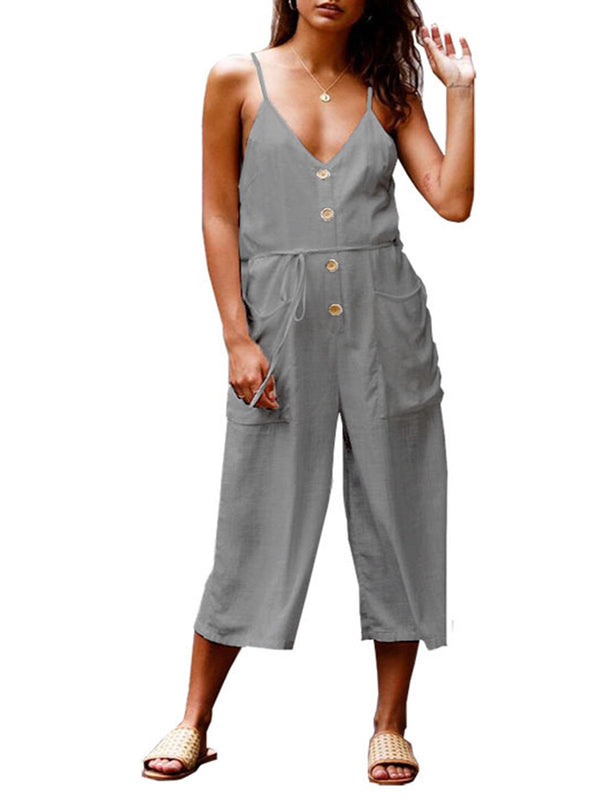 Women Casual Buttoned Pockets Spaghetti V-neck Linen Jumpsuits