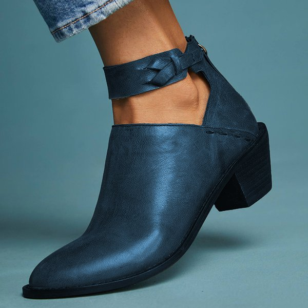 freevic Women Plus Size Chunky Heel Booties Daily Zipper Boots