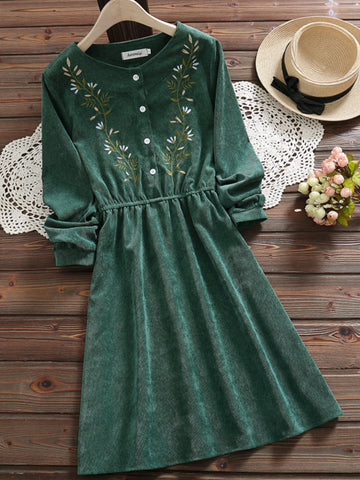 Freevic Short Green A-Line Dress for Women Floral Embroider Crew Neck Long Sleeve Modest Cotton Sweet Cute Mori Girls Dress