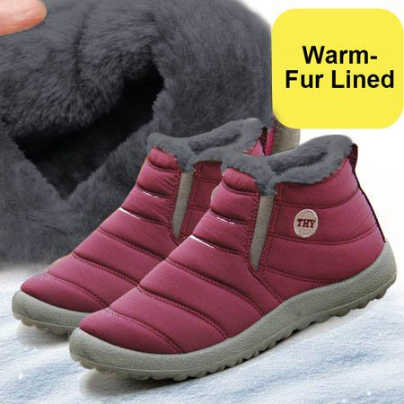 Freevic Unisex Waterproof Fur Lined Snow Boots