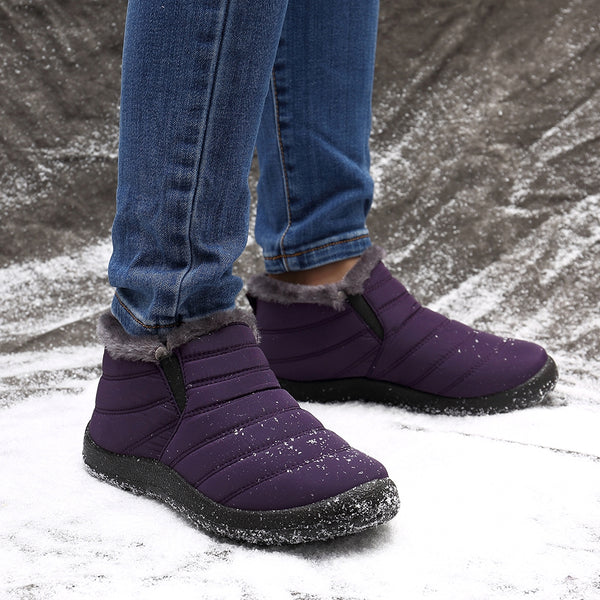 Women Waterproof Warm Lining Casual Winter Snow Slip On Ankle Boots