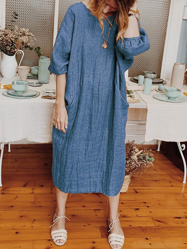 Plus Size Round Neck Women Caftans Shift Daily Casual Linen Dresses