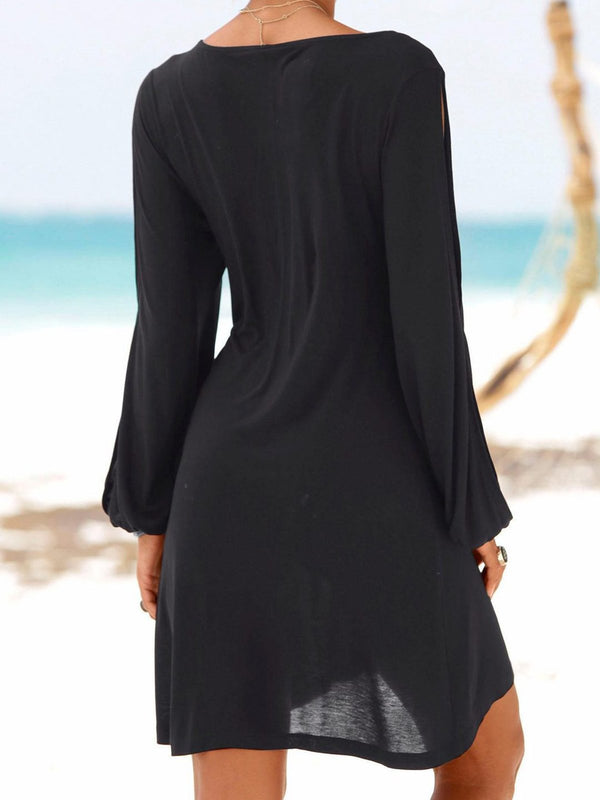 Casual Short Black Dress Swing Long Sleeve Slit Cold Shouler Shift Crew Dress