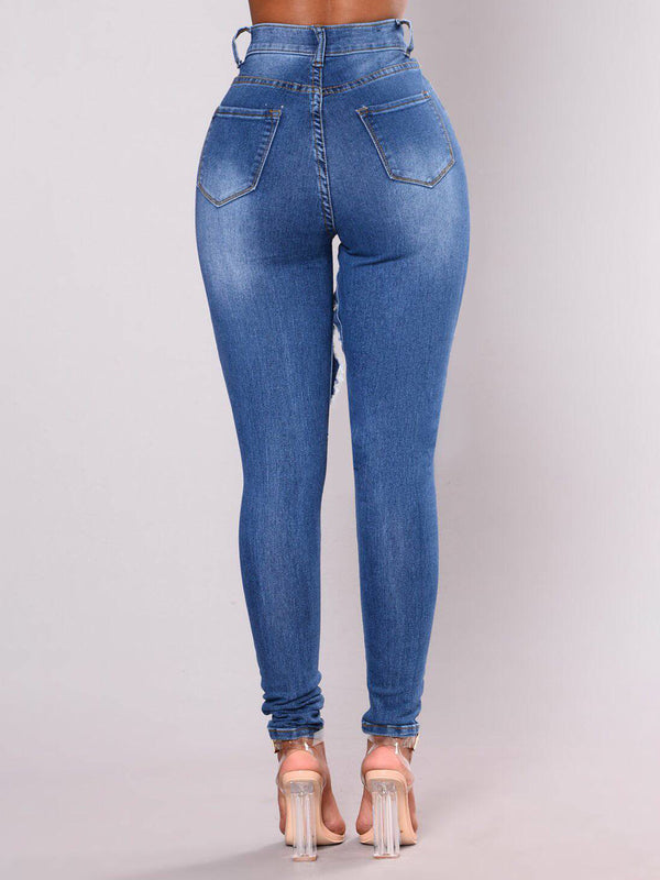 Women Deep blue Ripped Solid Cotton Jeans