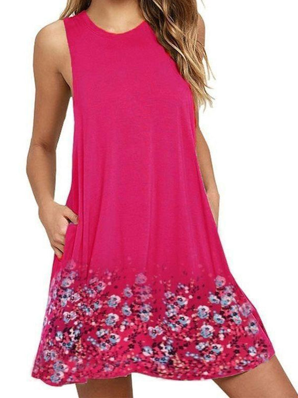 Crew Neck Women Summer Dresses Shift Casual Cotton-Blend Dresses