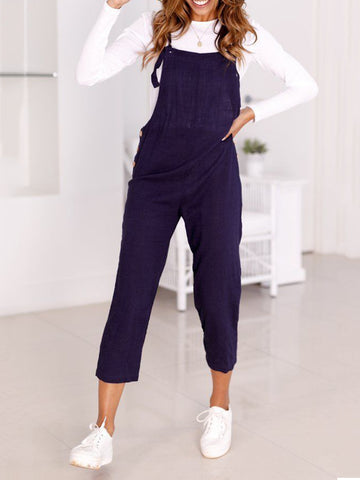 Women Solid Pockets Jumpsuits