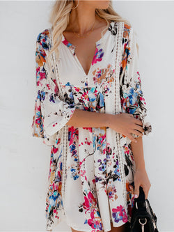 V neck White Women Bell Sleeve Casual Printed Floral Floral Dress