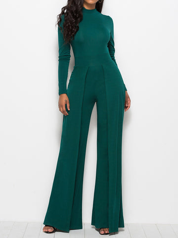 Women Stand Collar Casual Long Sleeve Sheath Jumpsuit