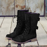 Low Heel PU Zipper Boots Rugged Combat Boots
