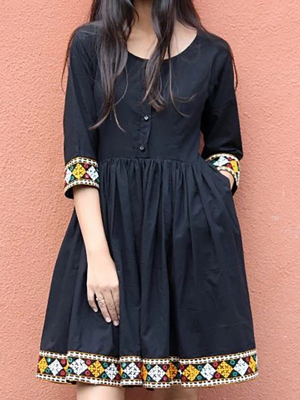 Round Neck Black Women Caftans A-Line Daily Casual Dresses
