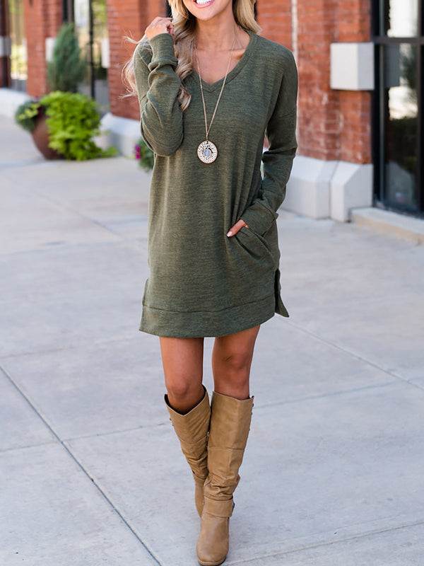 Shift Daily Long Sleeve Casual Slit Dress