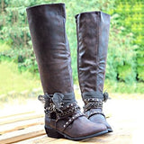 Women Vintage Booties Casual Zipper Plus Size Shoes