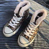 Women Casual Lace Up Fuzzy Leopard Sneakers Boots
