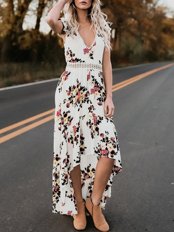 Women V neck Backless Swing Vacation Print Dress