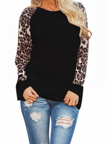 Leopard Print Raglan Sleeve Paneled Casual Plus Size Blouse