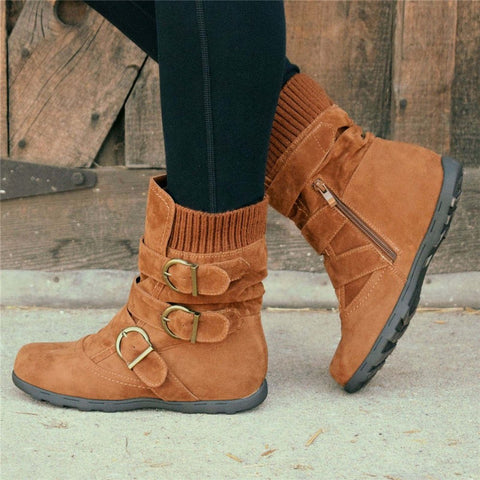 Cushioned Low-Calf Buckled Boots Knitted Fabric Zipper Slip-On Shoes